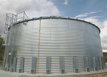 Steel Core Galvanized Water Storage Tank - 2 Stfnrs - J Rib 10 Degree Roof